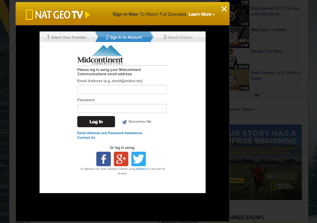 TV provider sign-in modal screenshot